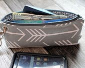 Custom Order for Stacey S - 6 Zipper Pouch Clutch Wallets - Long Wallet - Gray Arrow