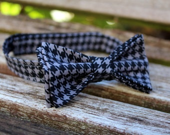 Bow Tie Black Gray Houndstooth - Bowtie - Pretied Pre Tied- Adult - Boys - Baby - Toddler - Formal Casual Wedding - Geek Dr Who
