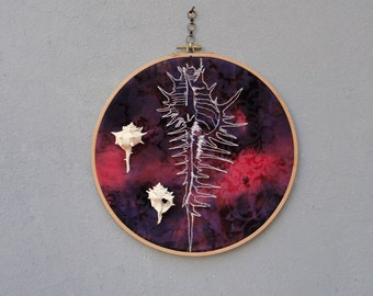 Shell Anatomy, Biology Art, Seashells Decor Embroidered Hoop Wall Hanging