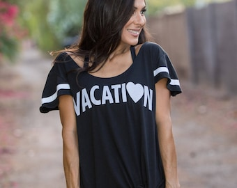 VACATION. Flutter Sleeved Sport Striped Tee. Made in the USA. Several Colors and Print Colors. Wide Shouldered Tee. Women's Lounge Shirt.