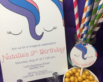 Unicorn Birthday Invitation |  Rainbow Birthday Invite | Unicorn Party | Unicorn Party Decorations | Digital Download | Printable 5x7 Invite