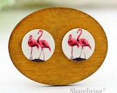 Buy 1 Get 1 Free - Pink Flamingo Wooden Cabochon, Koala Wooden Button, 12mm 15mm 20mm  Round Handmade Photo Wood Cut Cabochon -- HWC045P