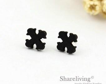 4pcs (2 pairs) Mini Black Cross Charm / Pendant,  Tiny Black Cross , Perfect for Stud Earring, Post Earring - WED153