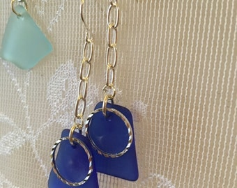 Lovely blue sea glass dangle earrings embellished with sparkly silver hoop beach glass inspired jewelry