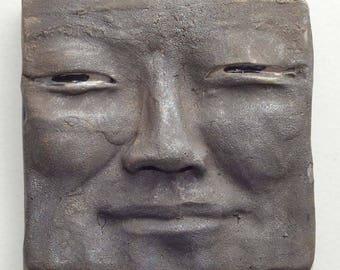 Buddha Face Tile in Raku Ceramics: Handmade One of a Kind Wall Hanging 5 X 5