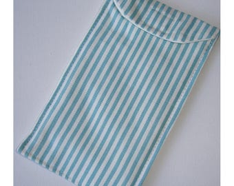 Tablet Case Cozy Gadget Device Sleeve Turquoise Striped Aqua and White Stripes Kindle / iPad / iPad Mini