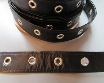 "Black Pleather 2cm (3/4"") eyelet tape x 1 metre"