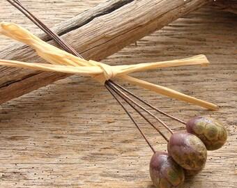 CRUSTY DROPS - Crusty Handmade Lampwork Headpins - Earring Pairs - 4 Headpins