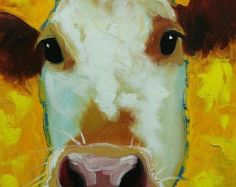 Cow painting 1169 12x12 inch original animal portrait oil painting by Roz