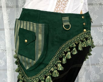 Tribal fusion utility belt - green and gold ultrasuede pocket belt with tassels - bellydance pocket belt - plus size utility belt - Large