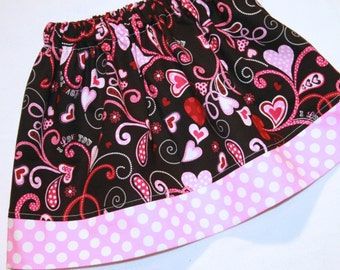 Girls Valentines Day Skirt in pink red black hearts polkadots swirls- CUSTOM sizes 12 months to size 8