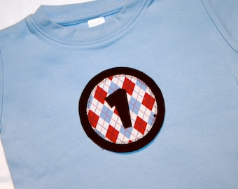 Boys First Birthday Shirt with Number 1 and Red Blue Argyle Circle  - 18 month short sleeve shirt