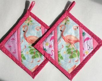 Pink Flamingo Patchwork Potholders, Flamingo Pot Holders, Flamingo Hot Pads, Flamingo Kitchen Decor, Flamingo Theme, Handmade Potholders