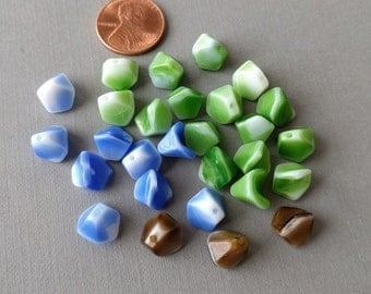 Lot of 28 Vintage Bead Cap Mix, 3 colors in lot, blue, green and brown with white accents