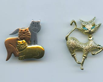 Whimsical Cat Theme Brooches Set Of 2