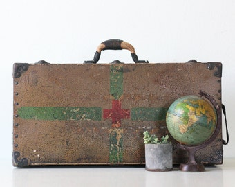 Vintage Military Trunk, Suitcase with Red Cross
