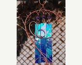 SPRING SALE Dragonfly Wind Chimes Copper Garden Glass Windchime Yard Art Sculpture Stained Glass Decor Lawn Ornament Cobalt