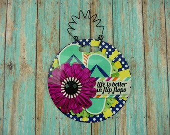 TINY SIGN Life Is Better In Flip Flops Beach Theme Ocean Waterfront Pool Lake House Home Small Space Round Hanging frp Plastic 4 inch