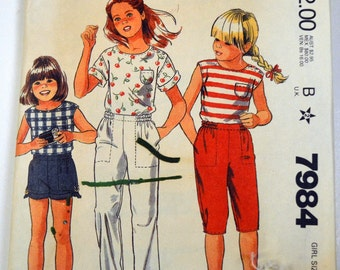 Vintage 1980's Sewing Pattern McCall's 7984 Girls' Top, Pants, Knickers, and Shorts Size 8 Waist 23.5 inches   Complete