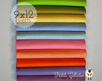Pastels Felt Collection, Wool Blend Felt, Wool Felt Sheets, Wool Felt Fabric, Felt Fabric Bundle, Wool Felt Bundles, Felt Collections