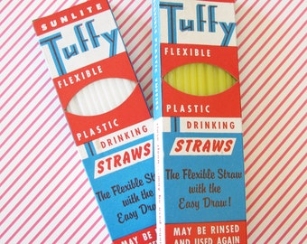 Summer in the Shade...Vintage New Old Stock Straws...Yellow & White