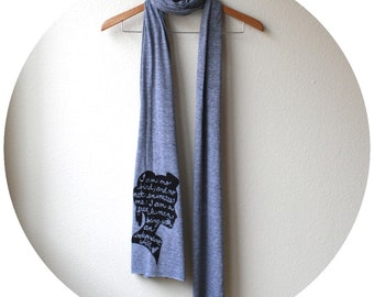 """Book Scarf- Jane Eyre Scarf """"I am no bird..."""" Literary Quote Scarf. MADE TO ORDER"""