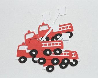 Fire Truck Die Cuts-Fire Truck Paper Die Cuts-Paper Fire Trucks-Fire Truck Confetti-Truck Die Cuts-Fire Truck Invitations-Scrapbook Supplies