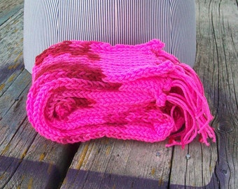 Knitted Pink Striped Long Scarf Bright Pink Ready to Ship