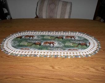 Crochet Table Runner, Horses Colt, Handmade, Best Doilies, Lace Edge, Dresser Scarf, Home Decor, Oval Centerpiece Crocheted Edge