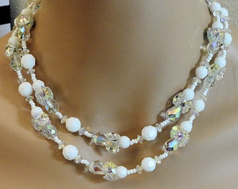 Vintage Vendome Milkglass and Crystal Necklace, Ladies Vintage Beaded Necklace, Double Strand Vendome Womens necklace