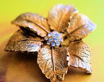 Vintage Judy Lee Brooch Pendant, 3 Dimensional Leaves and Rhinestones