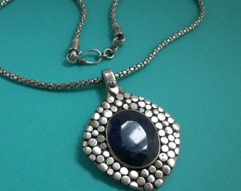 Big Bold sterling silver and sapphire necklace, statement necklace- silver necklace- silver jewelry- sapphire jewelry- OOAK jewelry