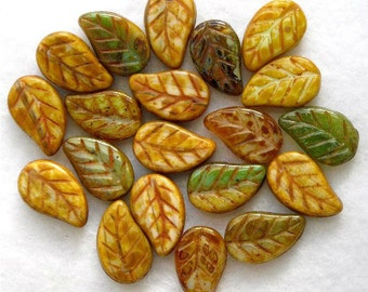New 18 CZECH Glass CURVY LEAF Beads Green & Gold Picasso 14x9mm