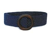 Blue Polka Dot  / Womens Ribbon Belt / Preppy Cloth Belt - White dots on Navy Wide Belt Skinny Belt / Plus Sized Belt