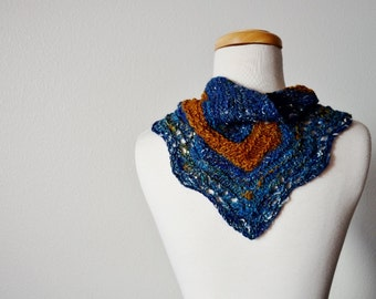 Hand Knit Wave Lace Mini Scarf - Button Up Scarf, Headwrap, Neckerchief. Handspun Handknit One of a Kind Spring Feverish Series Scarflette