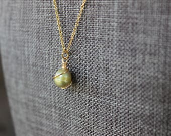 Green Freshwater Pearl Gold Necklace