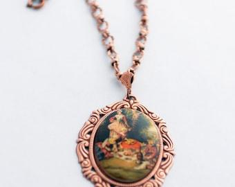 Cameo Necklace, Rosy Copper Necklace, Vintage Porcelain Cameo Cabochon, Picnic Scene, Vintage Style Jewelry, Unique Necklace, SRAJD