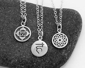 Chakra Charm Necklaces in Sterling Silver