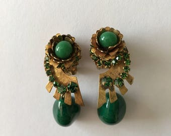 Miriam Haskell Signed Clip On Earring 1950s Gold Toned Metal with Green Glass slStone and Rhinestones Three Dimensional Art Deco