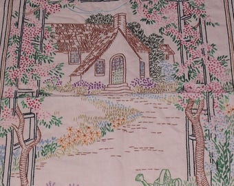 Vintage Cottage Home Needlework Embroidery Wall Hanging