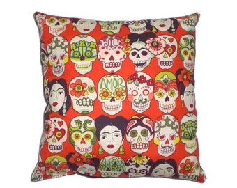 Frida and Sugar Skulls  Mexican Art Decorative Throw Pillow Home Decor Day of the Dead Bedding