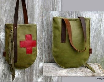 Olive Leather Swiss Army Bag with Red Cross by Stacy Leigh