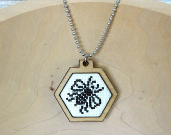 Honeybee Cross Stitch Pendant, Modern Wearable Cross Stitch Mini Hoop, Cross Stitch Keepsake Bee Necklace
