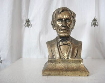 Vintage Abraham Lincoln Bookend Bust, Painted Brass, Home Decor, Shelf Decor, Presidential