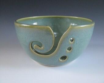 Ceramic Pottery Knitting Bowl / Yarn Bowl / Yarn Holder in Jade