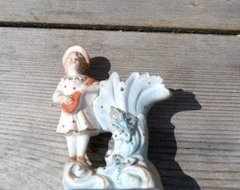 ON SALE 20% Vintage Antique old French or German Victorian bisque miniature vase / little girl playing mandoline