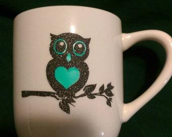 Custom Glitter Owl Mug