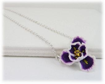 Tiny Purple Iris Necklace - Purple Iris Jewelry Collection, February Birthday Birth Flower