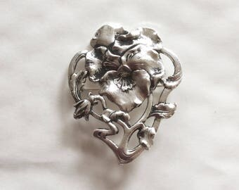 Pansy flower brooch /pin Art nouveau style silver plated