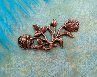 Closeout*  ANTIQUE COPPER Floral Flourish Bar Rose Spray Flower Stamping ~ Jewelry Findings (CA-3088)
